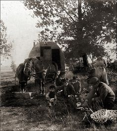 This amateur stereoview is described on the backside in old hand as Zigeuner Mahlzeit, Steckelsdorf, 75mm) [Gypsy meal....] Steckelsdorf is near Rathenow (in Brandenburg, west of Berlin, Germany) and 75mm is the focal length, the amateur photographer had used for this shot. Obviously these Roma were basket makers (Sepecides). Unknown photographer, ca 1910.