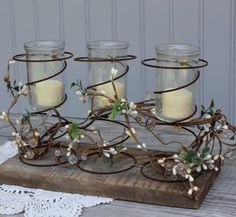 Cheese jar / bed spring candles on Etsy