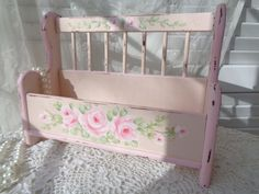 VINTAGE PARK BENCH BOX & INSERT hp roses chic shabby cottage hand painted pink  #Unbranded #COTTAGECHIC