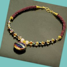 NECKLACE Kumihimo and Lampwork Beaded Necklace by TealEves