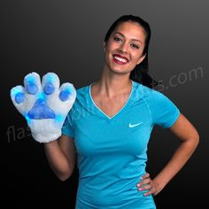 Blue LED Team Mascot Paws for Sports Fans - SKU NO: 11666-BL