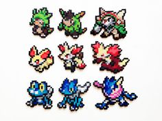 Pokemon X and Y Perler Generation 6 Starters by ShowMeYourBits on Etsy, $2.00…