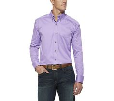 Ariat Men's Solid Twill Button Down Shirt, Dusty Lavender at Amazon Men's Clothing store: