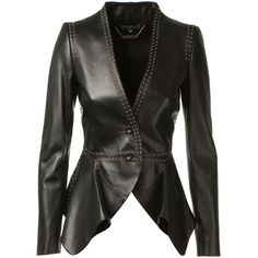 Alexander Mcqueen Black Studded Leather Jacket ($3,975) ❤ liked on Polyvore featuring outerwear, jackets, coats, leather jackets, tops, ruffle jacket, black studded leather jacket, genuine leather jacket, black leather jacket and alexander mcqueen jacket