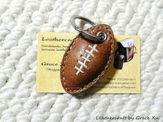 100% handmade hand stitched med brown cowhide leather football keychain / key holder