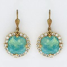 La vie Parisienne vintage crystal earrings. Vintage glam earrings in pacific opal crystal. Fabulous every day sparkle or for weddings, occasions.
