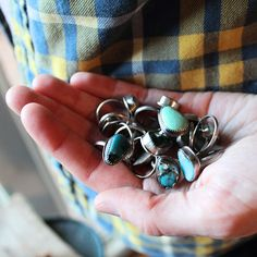 Stacker turquoise rings, assorted stones from local mines and all custom made with Sterling Silver by Bonnie Sedan.