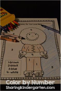 Sharing Kindergarten: Freebie Color by Number Eskimo Sheet