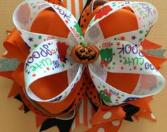 Halloween stacked boutique hair bow by SweetAsTeaCreations on Etsy