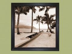 """Title: Paradise Found I ~~ Artist: Victor Giordano ~~ Subject: Outrigger canoe in the Hawaiian Islands. ~  Print Type: Lithograph ~~ Print Size: 12″ Wide x 12″ Tall  ~~  Overall Framed Art Size: 13-9/16″ Wide x 13-9/16″ Tall ~~ Frame Style: Simple Black ~~ Frame Molding Size: 3/4"""" tall x 1"""" wide  Our Picture Frames and Framed Art are all Hand made."""