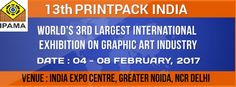13th Printpack India 2017, World's largest International Exhibition on Graphic Art Industry will be held on 4th Feb to 8th Feb 2017.The Venue of this Exhibition is India Expo Centre Greater Noida, Delhi Ncr.