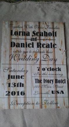 50 Wedding Invitations Rustic Wood Natural Finish Subway art