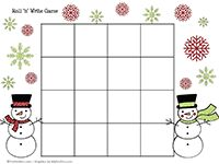 Snowman Roll 'n' Write Game for letter,number, or HFW practice