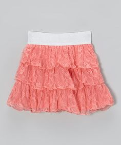 Take a look at this Salmon Rose Lace Skirt by Cutie Patootie on #zulily today!  this skirt reminds me of louise miller.  teen witch.  the morning after she transforms herself!  all that's missing is a jean jacket!