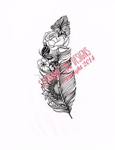 Custom Tattoo Illustration for Ruth, custom floral (sunflower, violet and rose) feather tattoo by SlowDesigns kepeann@gmail.com https://www.facebook.com/StephanieLowDesigns