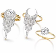 Button Back solitaire diamond ring with articulated fringe Party Jacket Trip The Light Fantastic, Party Jackets, Right Hand Rings, Diamond Solitaire Rings, Wedding Bands, Gems, Bling, Jewels, Engagement Rings