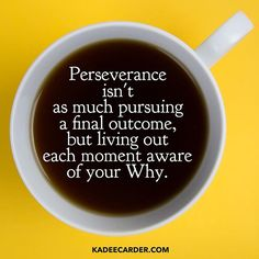 Perseverance isn't as much pursuing a final outcome, but living out each moment aware of your Why.  💥  Outcomes often depend on other people, situational circumstances, and a future you can't always determine. But right now you can act in a way that deepens your investment in your mission. 💥  You're not working to get an award. You're working to care for yourself and those around you.   kadeecarder.com
