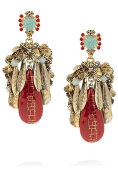 Red Drop Fringe Earrings, Erickson Beamon