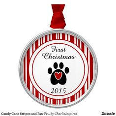 Candy Cane Stripes and Paw Print Round Metal Christmas Ornament