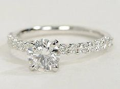 Diamond Wedding Rings Exquisite in design, this diamond engagement ring features a delicate row of U-prong set diamonds to beautifully frame your center diamond. Ring Set, Ring Verlobung, Dream Engagement Rings, Wedding Engagement, Oval Engagement, Pretty Rings, Beautiful Rings, Unique Rings, Jewelry Rings