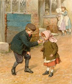 Boy offering a bite of apple to a littler girl -- by Robert Barnes (1840 – 1895, English)