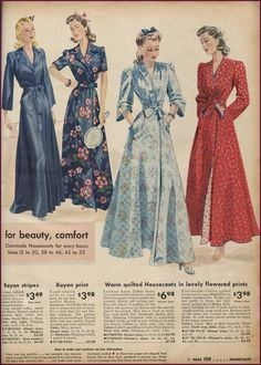 Sears catalog rayon robes and quilted housecoats, 1942-43.  NewVintageLady: Catalog Sunday: The Final MnM lounge wear edition