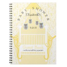 Cute Owls and Lace Baby Shower Guest Book- Spiral Notebook