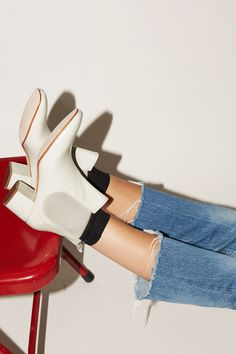 No.6 Cassidy Ankle Boot in Ecru Patent