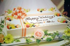 オプション内だから節約出来る♡スクエア・1段の可愛いウェディングケーキデザイン集* | marry[マリー]