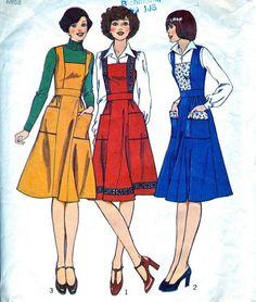 Misses' Pinafore Dress Women - 1970's Dress Pattern - Vintage Sewing Pattern UK…