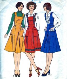 Misses' Pinafore Dress Women  1970's Dress by VintagePatternCo, £4.50