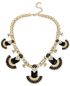 Haskell Gold-Tone Crystal and Bead Geometric Frontal Necklace