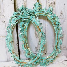 Sea glass frames ornate painted and distressed shabby cottage chic set of to hand painted sea foam frame set home decor anita spero design