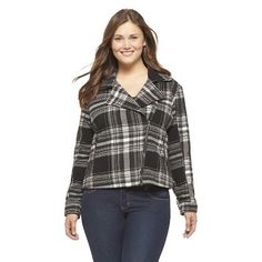 Women's Plus Size Faux Wool Moto Jacket-Mossimo Supply Co.