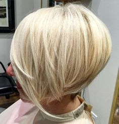 stacked chin-length blonde bob
