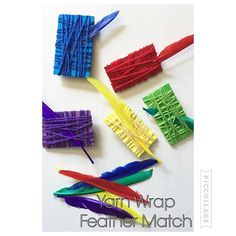 Yarn Wrap Feather Match {I finally bought yarn to start doing all these yarn wrap activities everyone is posting! I'm so excited!! Thanks for this idea @cintaandco} . . . . #yarnwrap #kidactivity #toddleractivity #kidactivities #toddleractivities #preschoolathome #preschoolwithmommy #colormatch #yarnwrapactivities #earlyeducation #earlylearning