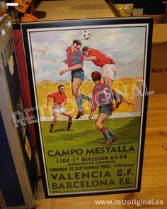 Cartel muy buscado del partido de Fútbol Valencia-Barcelona, 20 diciembre de 1963