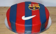 Barcelona Soccer cake by KB Cakes www. Pastel Del Barcelona, Barcelona Cake, Barcelona Party, Barcelona Soccer, Soccer Birthday Cakes, Soccer Cake, Soccer Party, Sweets Cake, Cupcake Cakes
