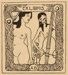Ex Libris… V.H. Brunner… 1904 Death Woman and Music