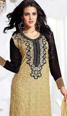 Indian Traditional Beige Georgette A Line Dresses, Dress