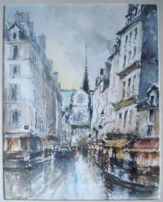 Vintage Paris Street Scene Signed Watercolor Painting Illegible Signature   eBay