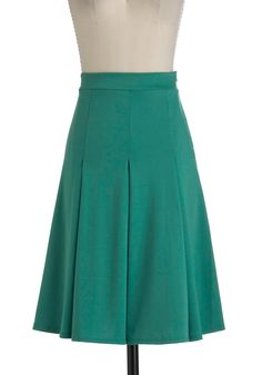 This would be a great skirt for work! | Foodie for Thought Skirt in Mint - Long, Green, Solid, Pleats, A-line