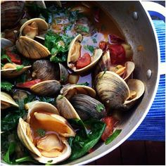 Littleneck Clams with Chorizo, Potatoes & Spinach steamed in Beer! Little Lady, Big Appetite | Follow Food with Me