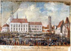 Franz Neuhauser the Younger - Târg anual la Sibiu, 1789 Paris Skyline, Louvre, Painting, Travel, Art, Google, Yearly, Hungary, Art Background