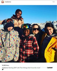 Madonna celebrates the New Year on the Swiss slopes with children Lourdes Rocco David and Mercy