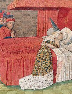Mort de Tristan et Iseut. Miniature d'un manuscrit du XVe siècle du Livre de…