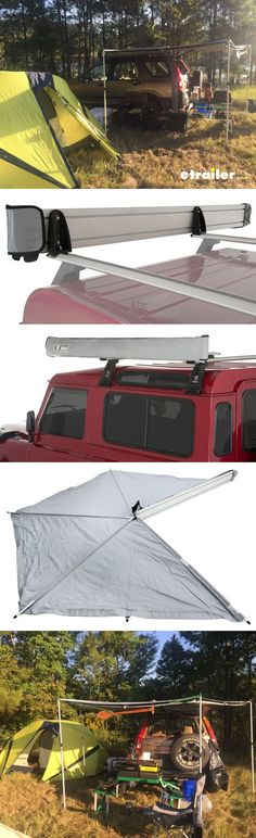 Camping and tailgating has never been easier! Awning swings out from your roof rack and around the side and rear of your vehicle. Installs easily onto your Rhino-Rack Vortex Aero or Heavy-Duty crossbars. Waterproof polyester resists UV rays. Telescoping poles, ropes, and pegs included.