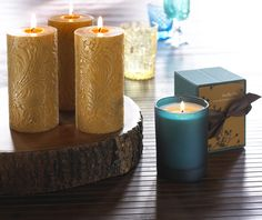 Carved Pillar Candles and Luxury High Fragrance Candle in Gift Box - by Blissliving Home