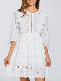 Elastic Waist Embroidered Eyelet Dress