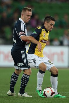 Anthony Caceres of the Mariners controls the ball during the round 21 A-League match between Melbourne Victory and the Central Coast Mariners at AAMI Park on March 7, 2014 in Melbourne, Australia.